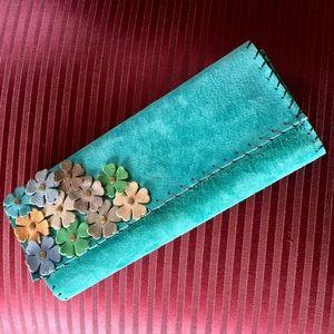 Handbags - TEAL SUEDE CLUTCH HANDBAG WITH FLOWER DETAIL